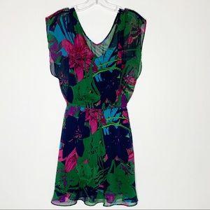 Express Small Floral Short Sleeve V Neck Dress